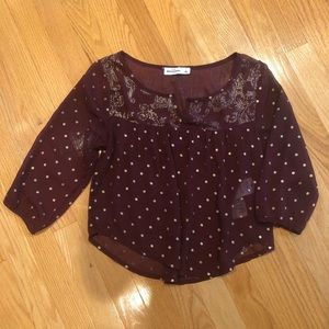 Abercrombie kids Maroon and Gold sheer top